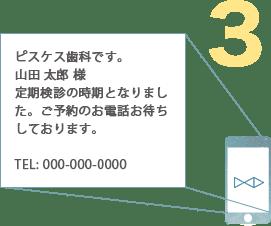 例:ピスケス歯科です。山田 太郎 様定期検診の時期となりました。ご予約のお電話お待ちしております。TEL: 000-000-0000