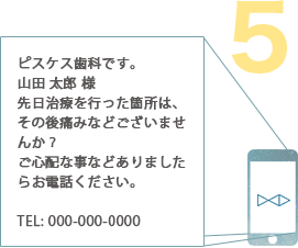 例:ピスケス歯科です。山田 太郎 様先日治療を行った箇所は、その後痛みなどございませんか?ご心配な事などありましたらお電話ください。TEL: 000-000-0000
